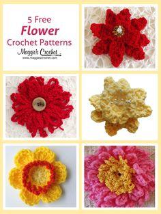 Five More Free Flower Patterns Yarn Flowers, Knitted Flowers, Crochet Flower Patterns, Crochet Stitches Patterns, Flower Applique, Crochet Motif, Crochet Appliques, Small Flowers, Crochet Crafts