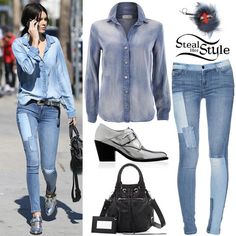 Find out where your favorite celebrities buy their clothes and how you can get their looks for less. Celebrity Piercings, Kendall Jenner Outfits, Kylie Jenner, Balenciaga Bag, Patched Jeans, Super Skinny Jeans, Bra Tops, Her Style, Celebrity Style