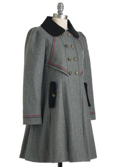 Stylish to the Chorus Coat in Grey   Mod Retro Vintage Coats   ModCloth.com