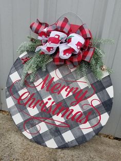 Personalized Christmas Ornament Door Hanger -  Buffalo Plaid Door Hanger - Custom Door Sign -