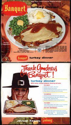 Banquet - Turkey Dinner - TV Dinner box - 1950's 1960's