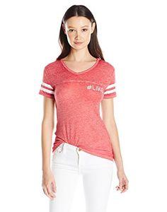 659e06444be Derek Heart Juniors  Burnout Graphic Football T-Shirt  Cap sleeve v neck  baseball tee hi low with screen print