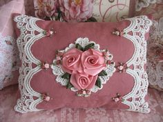 pink rose and lace pillow