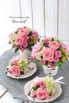ご両親贈呈花とお父様用のブートニア の画像|プリザーブドフラワー専門ショップ *Bon-motif* ボンモチーフ