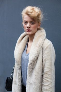 i need this hairdo, fresh faced makeup, and fuzzy coat. #LOVE