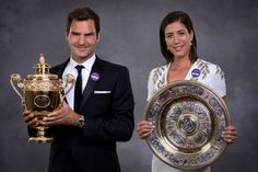 Roger Federer and Garbine Muguruza at the Champions Dinner