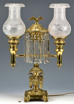 Double Argand Lamp With Pelican Or Swan Base : Lot 610