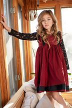 Mustard Pie Red and Black Holiday Jumper Girls Boutique, Boutique Clothing, Big Girl Clothes, Girls Special Occasion Dresses, Black Lace Tops, Tween Girls, Mustard, Jumper, Girl Fashion
