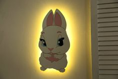 Bunny Wall light Baby gift or Nursery Decor Rabbit Nursery | Etsy Cloud Night Light, Nursery Night Light, Nursery Decor, Bedroom Decor, Water Based Acrylic Paint, Kids Bedroom, Playroom, Kids Toys, Baby Gifts