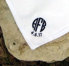 Classic linen with circle monogram for the groom ~ $23.50, includes tissue & gift box.