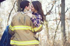 firefighter engagement photo. lockstein photography. Firefighter Engagement Photos, Firefighter Pictures, Engagement Couple, Engagement Pictures, Engagement Session, American Firefighter, Firefighter Family, Cute Couple Pictures, Couple Photos
