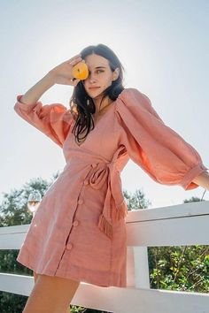 Carino Mini Dress by FreePeople lightweight linen wrap style dress with button closure and tassel tie. Linen Dresses, Cotton Dresses, Cute Dresses, Casual Dresses, Summer Dresses, Look Fashion, Skirt Fashion, Fashion Dresses, Womens Fashion