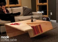 Table Book Cubbies : Nook Coffee Table