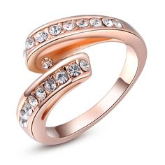 White 7 1PCS Free Shipping! Genuine Austrian Crystal Fashion Ring Rose Gold Plated Rings Jewelry For Women