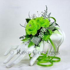 unique prom corsages | SRDC-AG Apple Green Designer Satin Rose Prom Wrist Corsage