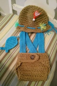 Crochet Newborn Baby Fisherman Set Photography Prop Hat Photo Prop, Made USA