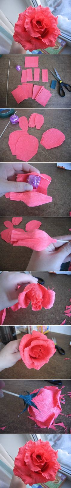 DIY : Rosa de papel crepom com chocolate*-*