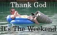 Thank God it's the weekend. Man floating in the water drinking beer with the keg paring next to him. Drunk Funny Weekend