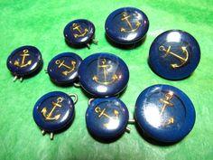 "(9)  4-3/4"" & 5-5/8"" GOLD ANCHOR BLUE PLASTIC SHANK BUTTONS - VINTAGE…"