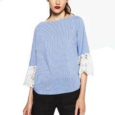 >> Click to Buy << 2016 Women Elegant Blue Striped Slash Neck Blouse Female Loose Cuff Lace Stitching Shirt Three Quarter Sleeve Brand Tops Blusas #Affiliate