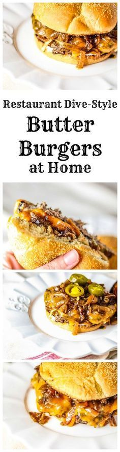 These smashed butter burgers are a real treat, super juicy, and simply the best dive burgers you could imagine.These smashed butter burgers are a real treat, super juicy, and simply the best dive burgers you could imagine. Burger Recipes, Beef Recipes, Cooking Recipes, Butter Burgers, Beste Burger, Burger And Fries, Homemade Butter, Homemade Vanilla, Food Videos