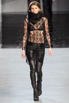 Lace. see through. leather. cowl. helmut. lang.