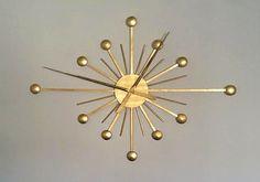 Large Retro Diamond Sunburst Wall Clock 40x28 by BubingaArtistry