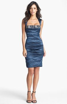 Nicole Miller Techno Metal Embellished Sheath Dress available at #Nordstrom