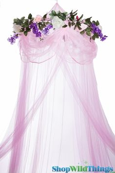 """Canopy """"Sleeping Beauty"""" Pink With Flower Garland Mosquito Net"""