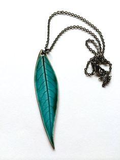 Large Long Turquoise Ceramic Leaf Pendant by AlainaSheenDesigns