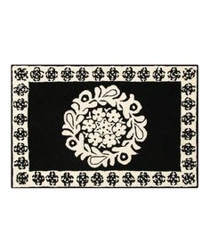 Take a look at this C & F Black Borrego Rug by Black & White: Kitchen Essentials on #zulily today!