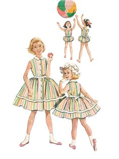 Vintage 1950s McCalls 4130 Girls Summer Playsuit Romper or Dress with Bonnet Sewing Pattern Size 4