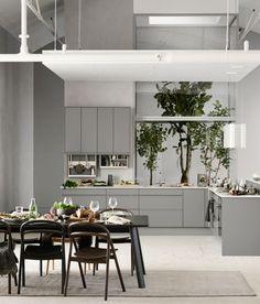 Marbodal Viken mellangrå Scandinavian Interior Design, Interior Design Studio, Grey Kitchens, Cool Kitchens, Kitchen Furniture, Kitchen Dining, Kitchen Island, Dining Room, Cuisines Design