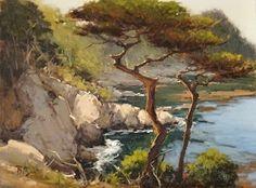 Hanging Cypress, Pt Lobos by Brian Blood Oil ~ 12 x 16 Paintings I Love, Seascape Paintings, Beautiful Paintings, Watercolor Paintings, Watercolor Ocean, Palm Desert California, California Art, Landscape Art, Landscape Paintings