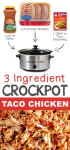 5 3 Ingredient Crockpot Taco Chicken 12 Mind-Blowing Ways To Cook Meat In Your Crockpot Listotic Crock Pot Food, Crock Pot Tacos, Crockpot Dishes, Crock Pot Slow Cooker, Slow Cooker Recipes, Cooking Recipes, Healthy Recipes, Budget Cooking, Slow Cooking