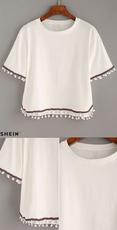 White Embroidered Tape Trimmed T-shirt: