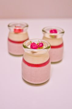 Strawberry-grand marnier mousse, raspberry jelly, and vanilla-almond panna cotta  草莓橙酒慕斯、覆盆莓果凍&香草杏仁奶凍  Grand marnier enhances the sweetness of strawberries while the almond gives nutty flavor to the panna cotta~ of course, the berries in season are so charming and delish! Such a delightful dessert in the berry season! Recipe from Pierre Herme