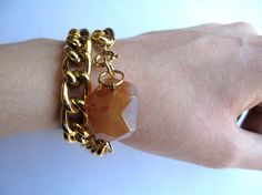 Gold Chain Bracelet with Bright Orange Stone by HomeGrownIllinois, $13.00