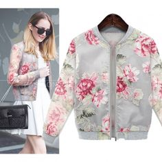 Ladies Vintage Autumn Floral Printed Coat Womens Crop Domber Biker Jacket 2Color