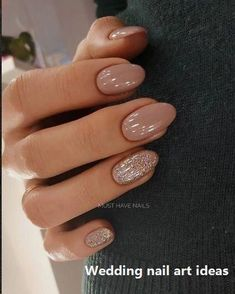 35 Simple Ideas for Wedding Nails Design nailartideas weddingnails , Design ideas naila. : 35 Simple Ideas for Wedding Nails Design nailartideas weddingnails , Design ideas nailartideas nails simple wedding weddingnail weddingnails Simple Ideas Wedding Glitter Accent Nails, Glitter Nail Art, Gold Nail, Gold Gold, Beige Nail Art, Nude Nails With Glitter, Beige Nails, Blue Nail, Oval Nails