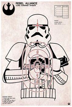 Stormtrooper shooting target art print. $18.00, via Etsy.