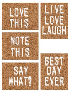 FREE Cork board printables for Project Life - cards with some simple text.