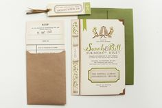book and library card invitation suite