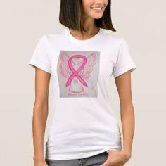 Breast Cancer Pink Awareness Ribbon Angel Shirt