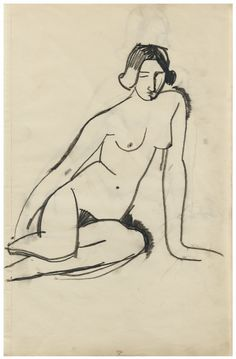 Amedeo Modigliani 1884 - 1920 FEMME NUE ASSISE stamped DE P. and numbered 25 (lower centre) black pencil on paper x cm ; Executed in Amedeo Modigliani, Modigliani Paintings, Art And Illustration, Figure Drawing, Painting & Drawing, Life Drawing, Drawing Sketches, Art Drawings, Statues