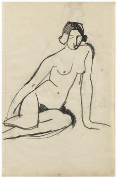 Amedeo Modigliani, Femme nu assise, 1908