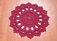 Red home decor Red crochet doily 9 inches by CrochetedCosiness