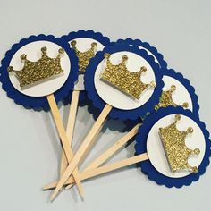 Royal Birthday - Royal Baptism - Prince Theme Party - Blue and Gold Cupcake Toppers - Crown - First First Birthday Cupcakes, Baby Boy 1st Birthday, Boy Birthday Parties, Royal Theme Party, Prince Birthday Theme, Baptism Themes, Paper Party Decorations, Prince Party, Royal Baby Showers