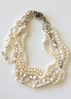 Exquisite Multi-strand Pearl, Freshwater & Sterling Vintage Necklace. #Jewelry #Bracelet #Cultured_pearl
