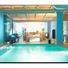 My dream room! HOLY CRAP AN INDOOR POOL IN MY ROOM. WHAT THE HECK I NEED THIS.